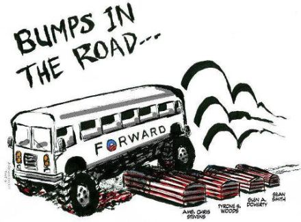 Looks like the road has suddenly gotten really bumpy for the president...